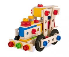 Constructor Set - A construction kit with nuts, bolts, washers and tools to build planes, trains, cranes and automobiles. The main components are made from durable hardwood and the connecting elements like nuts being made from indestructible plastic.