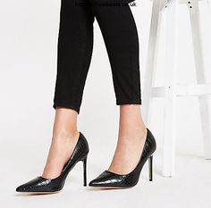 Shop our new Black croc embossed wide fit court shoes at River Island today. Pointed Toe Heels, Stiletto Heels, Monochrome Fashion, Shoe Size Conversion, New Fashion Trends, Court Shoes, Wearing Black, Crocs, Style Guides