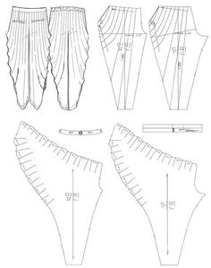 Pattern making - draping - 주름 배기 팬츠 draped jersey sewing pattern Techniques Couture, Sewing Techniques, Draping Techniques, Sewing Pants, Sewing Clothes, Pattern Cutting, Pattern Making, Dress Sewing Patterns, Clothing Patterns