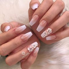 30 Coolest Nailart Designs And Ideas You Must Try - Page 3 of 3 - Style O Check - Ongles 03 3d Flower Nails, Flower Nail Designs, Nail Art Designs, Bride Nails, Prom Nails, Bling Wedding Nails, Cute Nails, My Nails, Dipped Nails