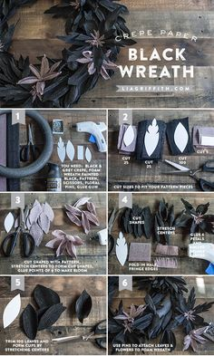 DIY Halloween Decorations: Black Crepe Paper Wreath