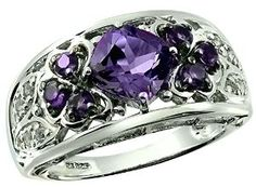 2.05 Carats Amethyst with White Topaz Sterling Silver Ring available at joyfulcrown.com