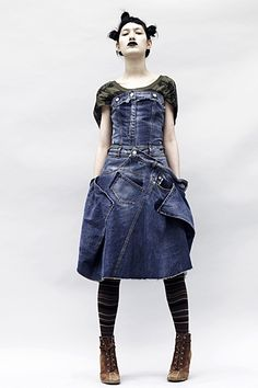 Alexander McQueen Denim Dress. If you like this follow my Pinterest for my recycled designs.