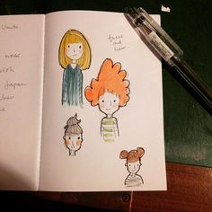 A little tiny sketchbook this eve .. #redhair #blonde #faces #pen #ink #friday #doodle