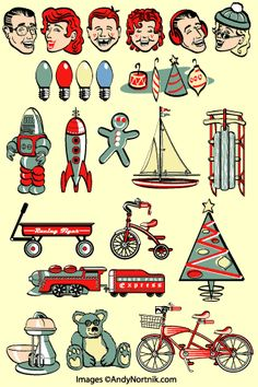 Retro Christmas clip art