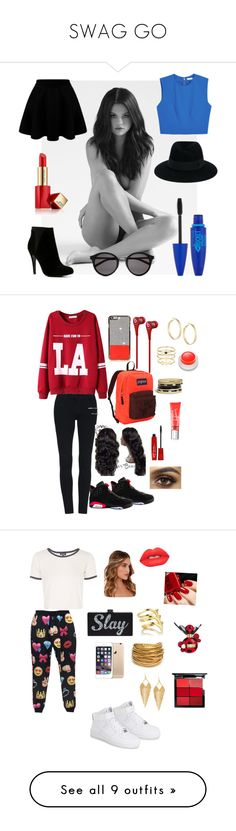 """""""SWAG GO"""" by kendalljenner01 ❤ liked on Polyvore featuring Alice + Olivia, ALDO, Estée Lauder, Yves Saint Laurent, Maybelline, Maison Michel, NIKE, JanSport, Beats by Dr. Dre and Accessorize"""