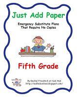 Just Add Paper 5th grade emergency sub plans... $5