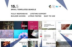 15 Email templates bundle V by ThemesCode on Html Email Templates, Design Templates, Mozilla Thunderbird, Mail Chimp Templates, Campaign Monitor, Responsive Email, Aol Mail, Portfolio, Getting Things Done