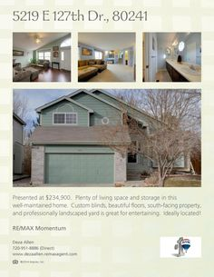 You or someone you know could be under contract on this great home before the BRONCOS WIN THE SUPER BOWL!!  Stop by the Open House this Saturday from 1-4! 5219 E 127th Dr. Open House Flyer