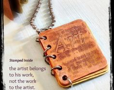 METAL BOOK PENDANT- Artist Quote - Hand Stamped Copper and Brass with Etched Design - Can Be Customized