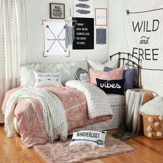 Body pillow cover boho bedroom diy, boho dorm room, teen bedroom, b Bedroom Decor For Teen Girls, Teen Girl Bedrooms, Teen Bedroom, Dream Bedroom, Bedroom Ideas, Bedroom Wall, Blush Bedroom, Master Bedroom, Boho Chic Bedroom