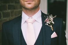 Groom Tie Buttonhle Gypsophila Wax Flower Pretty Light Pink Country House Wedding http://jonathanryderphotography.com/