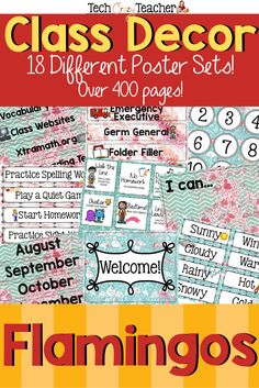This flamingo themed classroom decoration bundle will help you will set up your class in no time! There are 18 different classroom poster sets including birthdays, calendars, rewards, helpers, objectives and so much more! There is an editable decor file with I Can statements, classroom signs, and name plates. So many options to choose from! Over 400 pages of flamingo inspired decor for your classroom setup! #classroomdecor #classroomsetup Classroom Helpers, Classroom Signs, Classroom Posters, Classroom Setup, Classroom Activities, Teacher Blogs, Teacher Resources, Teaching Ideas, Clock Labels