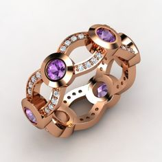 I love amethyst, and there is something about the contrast of the purple with rose gold.  This ring in white gold looks good, but change it to rose gold and its stunning!