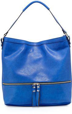 Neiman Marcus Penelope Faux-Leather Hobo Bag, Blue
