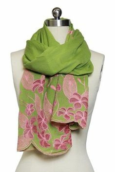 Moss green scarf with Barbie pink flowers