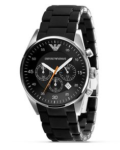 Emporio Armani - In Stock! - Mens Emporio Armani Tazio watch in a sleek design in black and silver. Features include date function, chronograph and silver baton hour markers. Emporio Armani, Best Watches For Men, Cool Watches, Men's Watches, Male Watches, Unique Watches, Dress Watches, Stylish Watches, Iphone Display