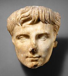 Portrait head of the Emperor Augustus, ca. 14–37; Julio-Claudian  Roman  Marble    Source: Portrait head of the Emperor Augustus [Roman] (07.286.115) | Heilbrunn Timeline of Art History | The Metropolitan Museum of Art