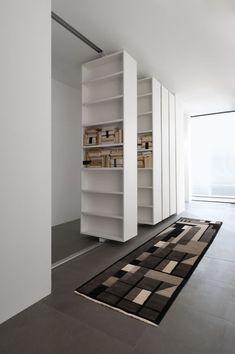 94 Amazing Bookshelf Design Ideas - Essential Furniture In Your Home Freestanding Double Sided Poplar Bookcase Manufacturer Murs Mobiles, Movable Walls, Bookshelf Design, Bookshelf Ideas, Wall Bookshelves, Bookcases, Design Case, Interior Design Living Room, Space Saving