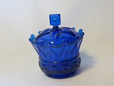 Cobalt Blue glass covered bowl - crown - candy dish by GiftedEnrichment on Etsy