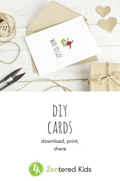 11 adorable DIY greeting cards in easy and green PDF format / each card features a hand drawn illustration from and a happy-habit-inspired message / zenteredkids.com Blank Cards, Kids Cards, Digital Illustration, Diy For Kids, Party Time, Hand Drawn, How To Draw Hands, Happy Birthday, Greeting Cards