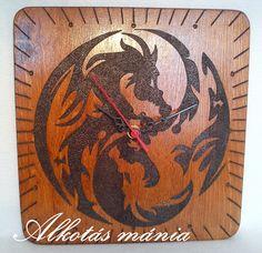 yinyang  sárkányos  állatos  pirogravírozott óra  alkotásmánia 2be84c6259