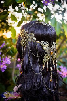 Autumn Butterfly Goddess Bridal Circlet by BlingGoddessBoutique