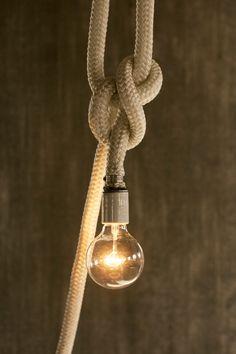 White Rope Nautical Pendant Light Rope Light Cage door LukeLampCo