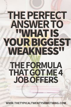 Struggling with job interview questions? Here's how to answer the job interview question, what is your biggest weakness! Job interview questions are tough, here's the career motivation you need. Job Interview Quotes, Job Interview Answers, Job Interview Preparation, Interview Questions And Answers, Job Interviews, Interview Weakness Answers, Tips For Interview, Preparing For An Interview, Biggest Weakness Interview