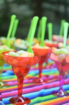 Let's Fiesta |  Bridal Shower - fruit in margarita cups