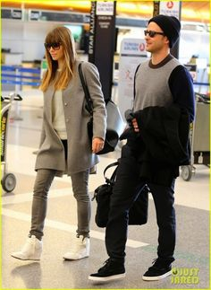 82bf12f28b1 I Love how Jessica Biel pairs up these funky Nike Dunk Sky Hi Wedge  Sneakers with a mostly grey outfit. Makes the sneakers pop!