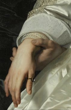 Bartholomeus van der Helst - Abraham del Court and his wife Maria de Kaersgieter, detail