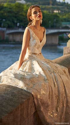 stephanie allin bridal 2017 sleeveless vneck ball gown wedding dress (octavia) fv gold color