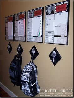 backpack hooks and organizer by kid! Great idea!
