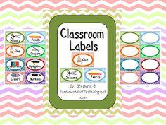 Chevron Classroom Labels