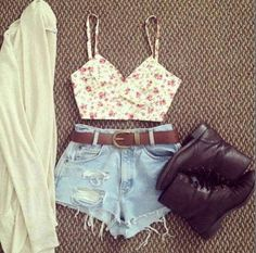 Boots,crop top, blue denim shorts with brown belt, white cardi<3