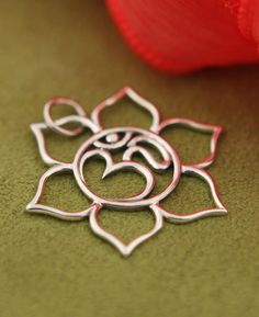 Sterling Silver Om and Lotus Pendant - Buddha Groove