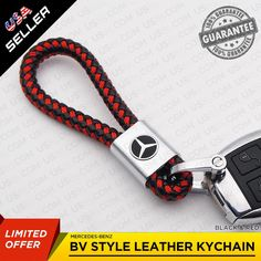 Keyrings & Keyfobs Genuine Red Leather Rectangular Silver Ford Mustang Logo Key Chain Fob Anello Matching In Colour