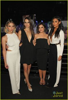 The ladies of Pretty Little Liars nail the black and white fashion scene at the 2015 ABC Family Upfronts
