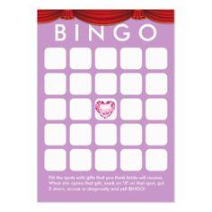 Tarjeta nupcial púrpura del bingo de la ducha del tarjetas de visita grandes