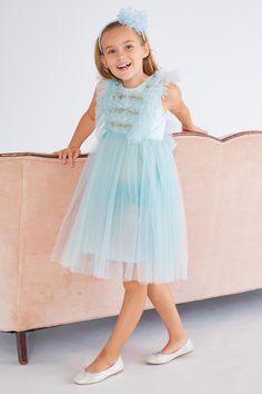 Girls Spring Sky Beaded Tulle Dress  d0d1a71fcbf