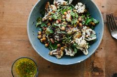 roasted cauliflower, chickpea + quinoa salad with jalapeno lime dressing by My Darling Lemon Thyme