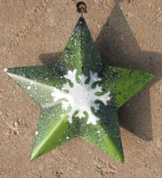 "OR-506 Green Star With Snowflake Metal Ornament  3 1/2"" x 3 1/2"" $1.50"
