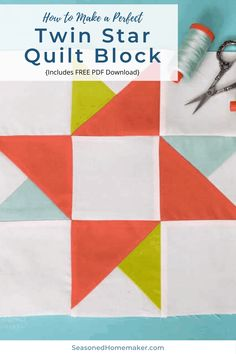Learn How to Make a Twin Star Quilt Block with these simple instructions. Free downloadable tutorial instructions included. #ribbonstarquiltblock #quiltblocks #easyquiltblocks #halfsquaretriangles #howtoquilt #quilttutorials Quilt Square Patterns, Beginner Quilt Patterns, Quilting For Beginners, Quilt Patterns Free, Quilting Tips, Quilting Tutorials, Quilting Projects, Sewing Projects, Block Patterns
