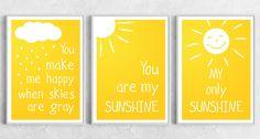 Set of 3 art prints - You Are My Sunshine - Positive print yellow white love poster cloud rain raindrops love gift summer nursery decor. $50.00, via Etsy.