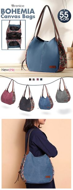 【US$42.99】Brenice Bohemia Large Capacity Canvas Floral Handbag Shoulder Bag For Women #handbags #boho #tribe #canvas