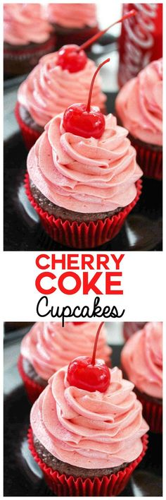 Cherry Cupcake with Cherry Coke Frosting Cherry Coke Cupcakes: The sweet taste of your favorite summer drink in just a few bites. Refresh yourself with a rich chocolate cherry cupcake with Cherry Coke in the batter AND the frosting. Cupcake Recipes, Baking Recipes, Dessert Recipes, Coke Recipes, Nutella Recipes, Easy Recipes, Coke Cupcakes, Cupcake Cakes, Cup Cakes