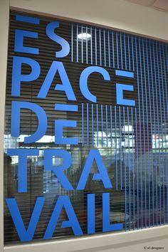 Window film for branding in a rich blue! Environmental Graphic Design, Environmental Graphics, Wayfinding Signage, Signage Design, Office Interior Design, Office Interiors, Display Design, Wall Design, Glass Signage