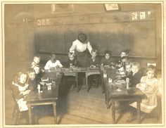 KINDERGARTEN, ST. LOUIS, 1905 Lots of similarities to today. Even the horseshoe table set up.