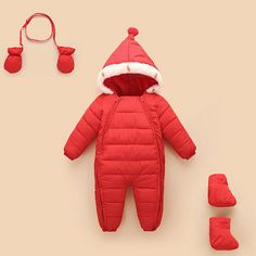 Minizone Baby Hooded Rompers Flannel Winter Outfits Boys Girls Snowsuits Feet Covered Jumpsuit
